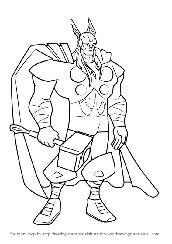 Learn How to Draw Thor from The Avengers - Earth's ...
