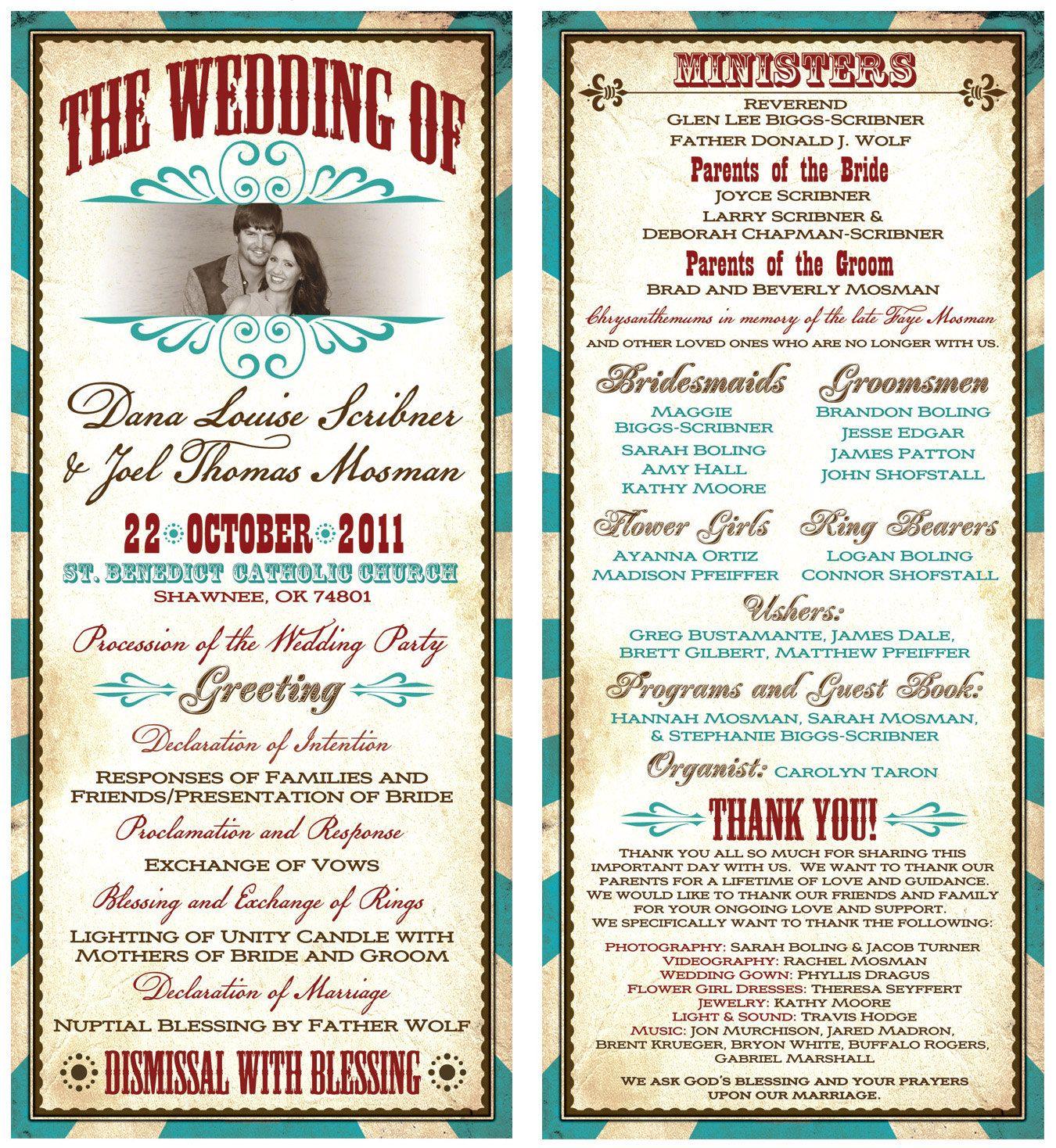 Vintage, Vaudeville, Western themed Wedding Program. $1.25, via Etsy ...