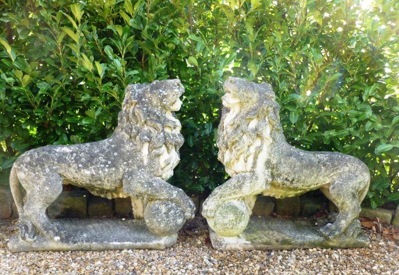 A Substantial Pair Of Vintage Stone Lions,Garden Antiques,garden  Ornaments,stone Lions