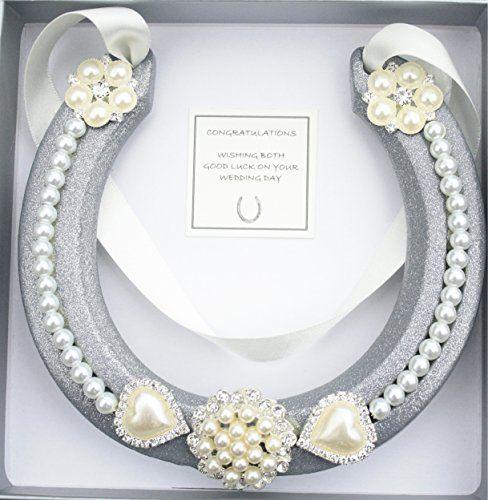 Lucky HorseShoe Real Bridal Wedding Gift IVORY SILVER