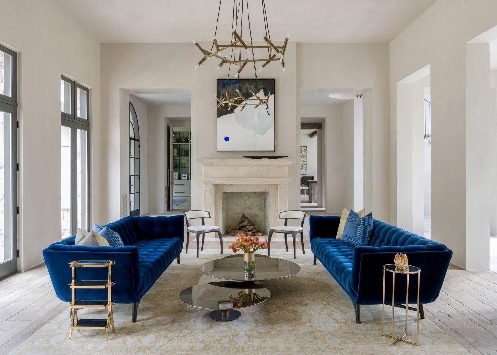 Elegant Modern Style Living Room Decor Navy Blue Sofas Blue Sofas Living Room Blue Living Room Decor Home Decor