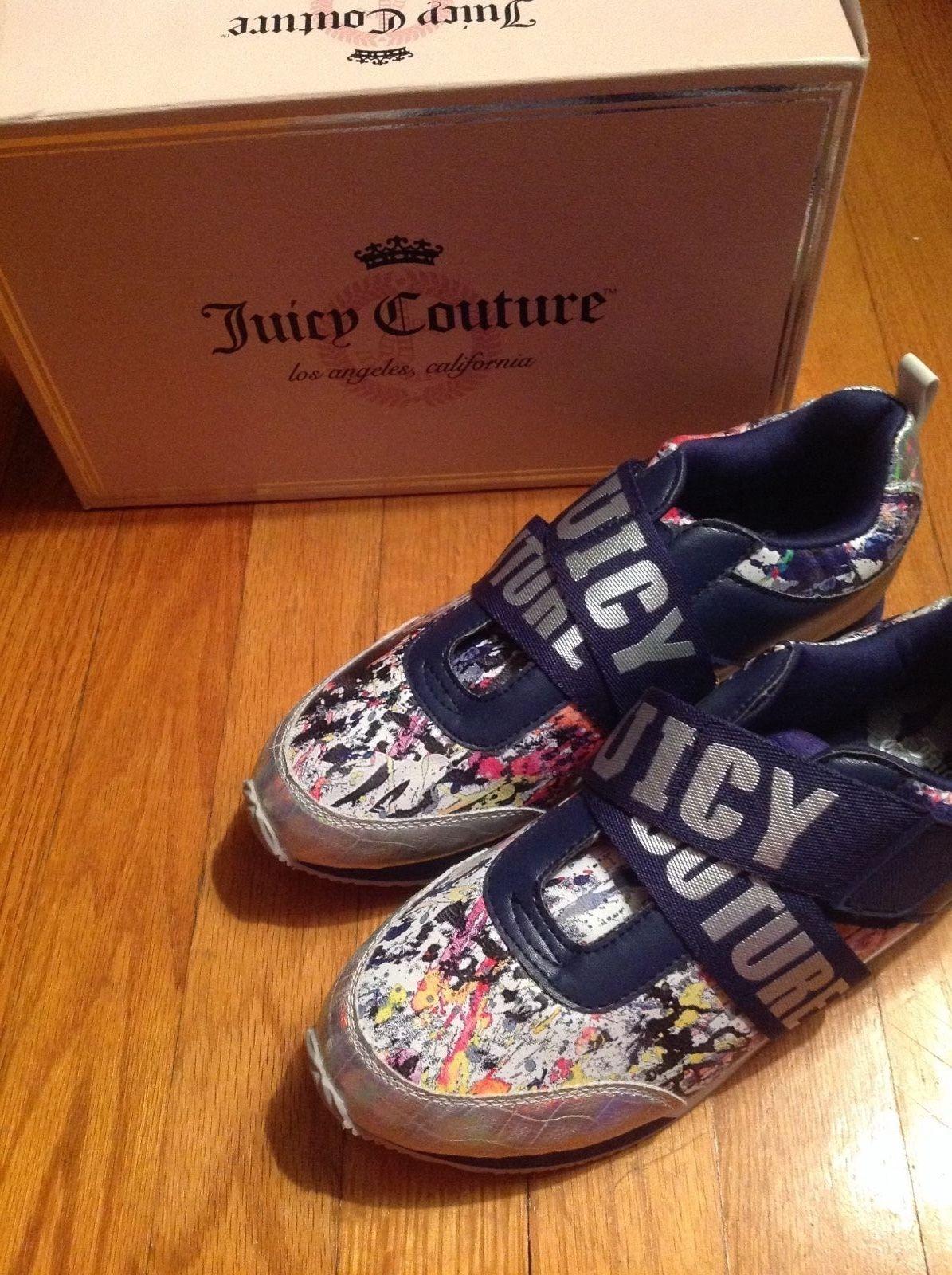 NEW Juicy Couture Women s Blane Splatter Blue Multi Fashion Sneakers Sz 7.5  US  1260f2011
