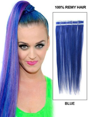 WHOLESALE 32 INCH SILKY STRAIGHT TAPE IN REMY HUMAN HAIR EXTENSION ONLINE BLUE