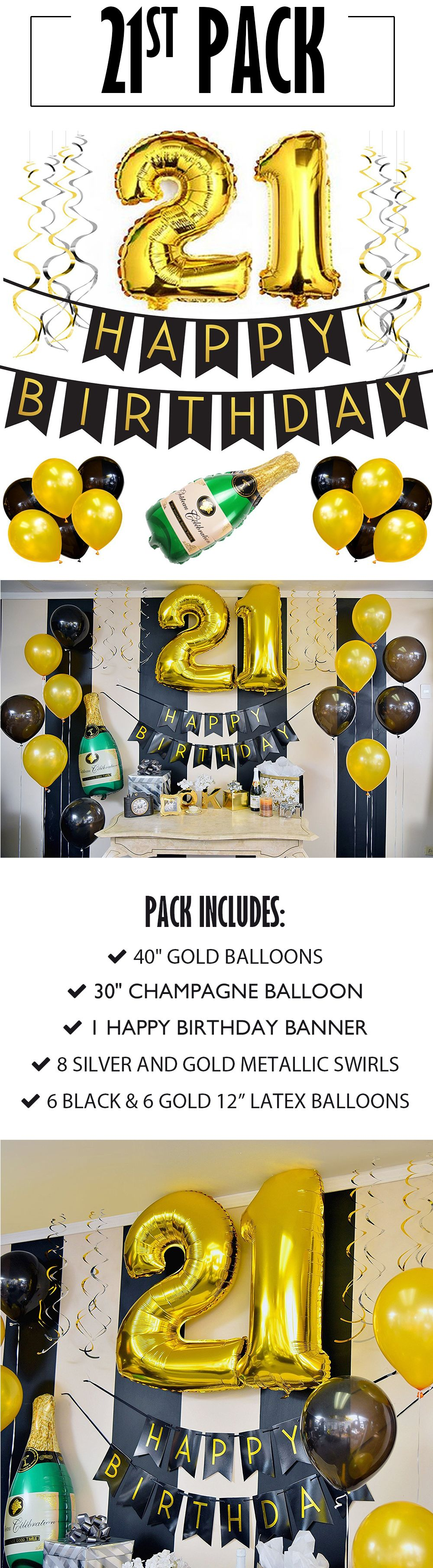 21st Birthday Banner And Balloon Pack