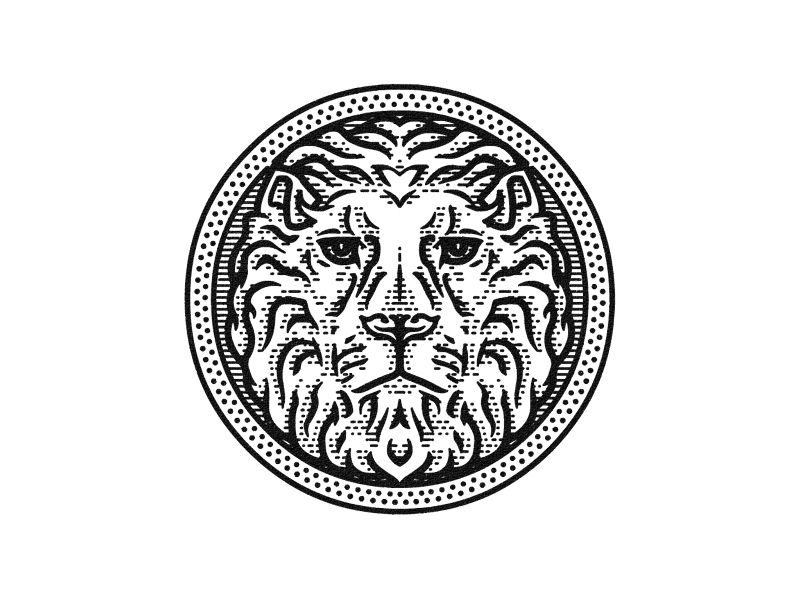 Lion Badge Badge, Badge design, Dot logo