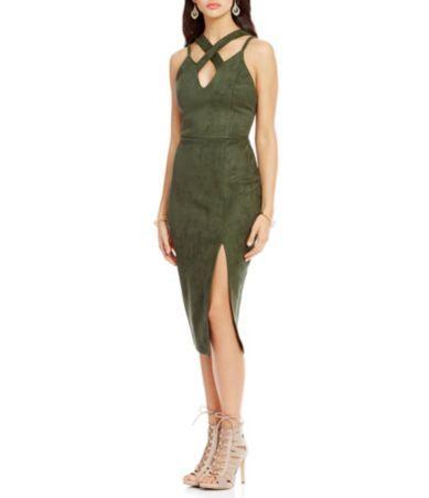 GB Faux-Suede Cut-Out Sheath Dress #Dillards