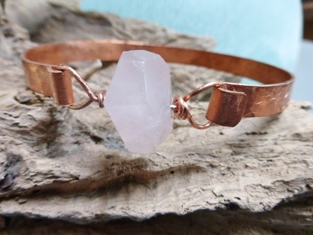 Copper bangle with natural rose quartz bead £15.00