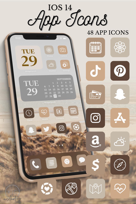 Neutral iOS 14 App Icons, iOS 14 home screen ideas