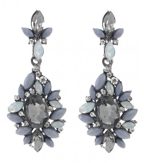Grey Colour Earrings: Dark Grey Colour Jewelled Drop Earrings