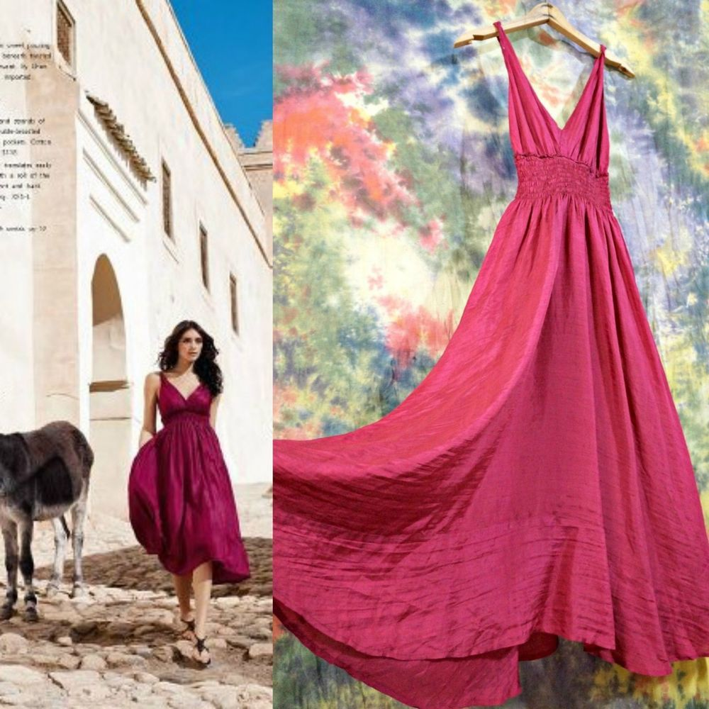 f45c4a8cb61e Anthropologie Chan Luu Silk Asymmetrical Hem Midi Dress S Pomegranate  Molasses #ChanLuu