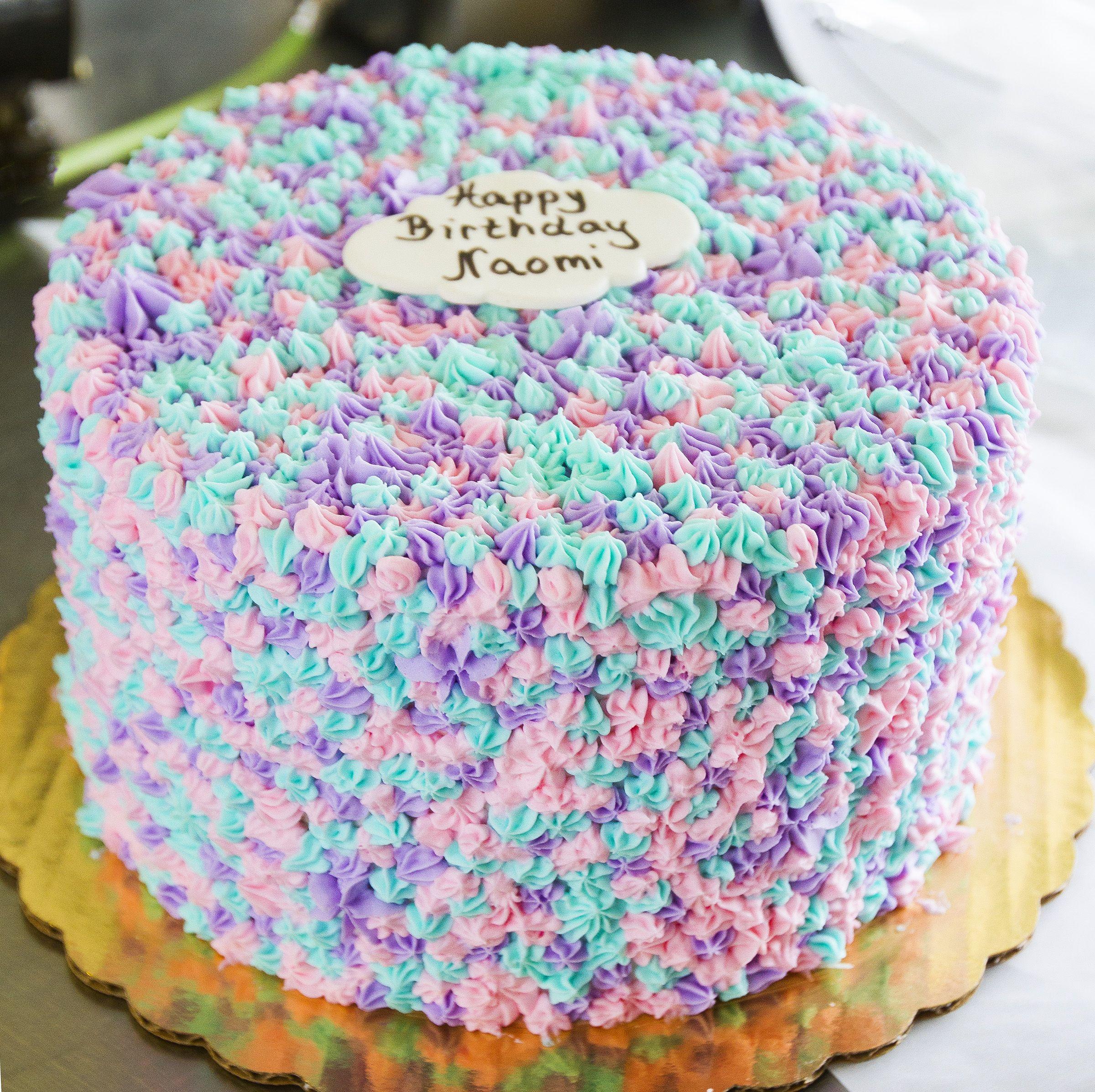 Yummy Blue Pink And Purple Birthday Cake