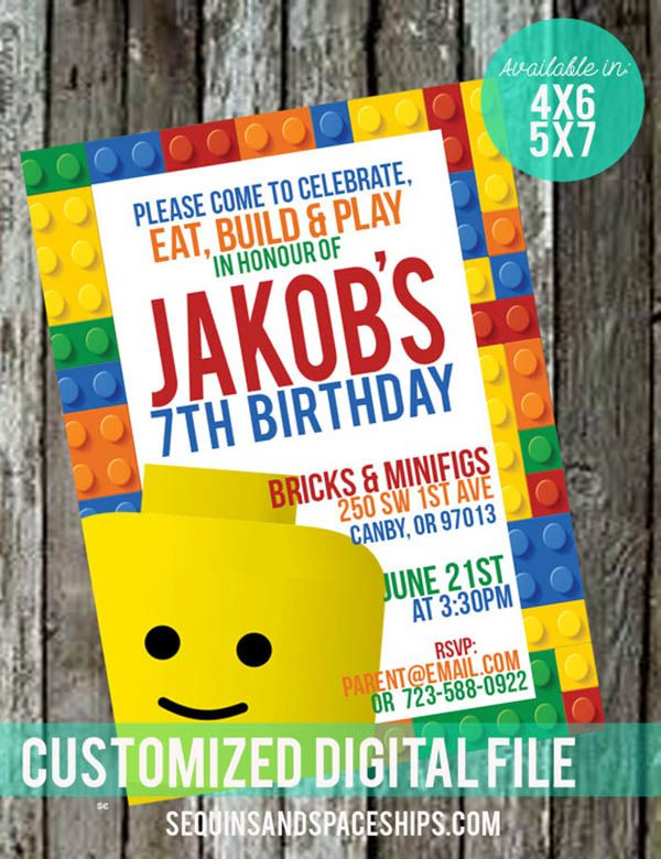 Cute Lego Party Invite On Etsy