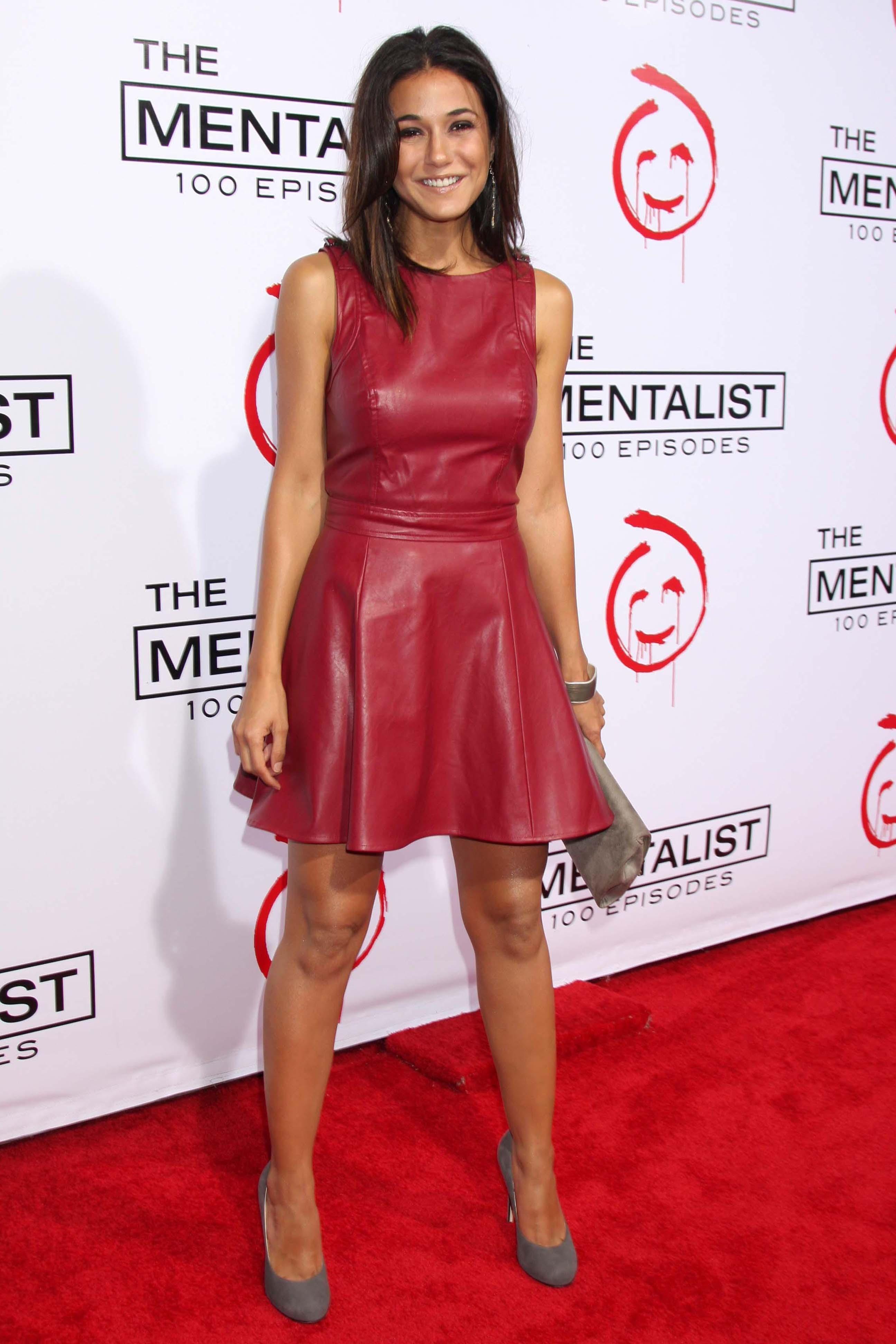 Emmanuelle Chriqui wearing a red leather dress CBS celebrates 100 ...