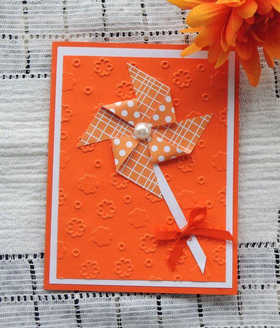 PinWheel Birthday Card  handmade  orange by karenirene on Etsy, $2.25
