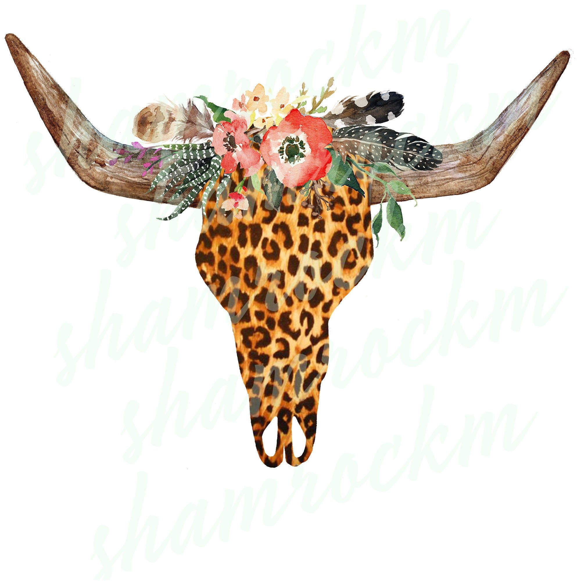 Boho Leopard Steer Skull Png Images With Transparent Background High Resolution 300 Dpi In 2021 Western Wall Art Aztec Pattern Wallpaper Aztec Wallpaper