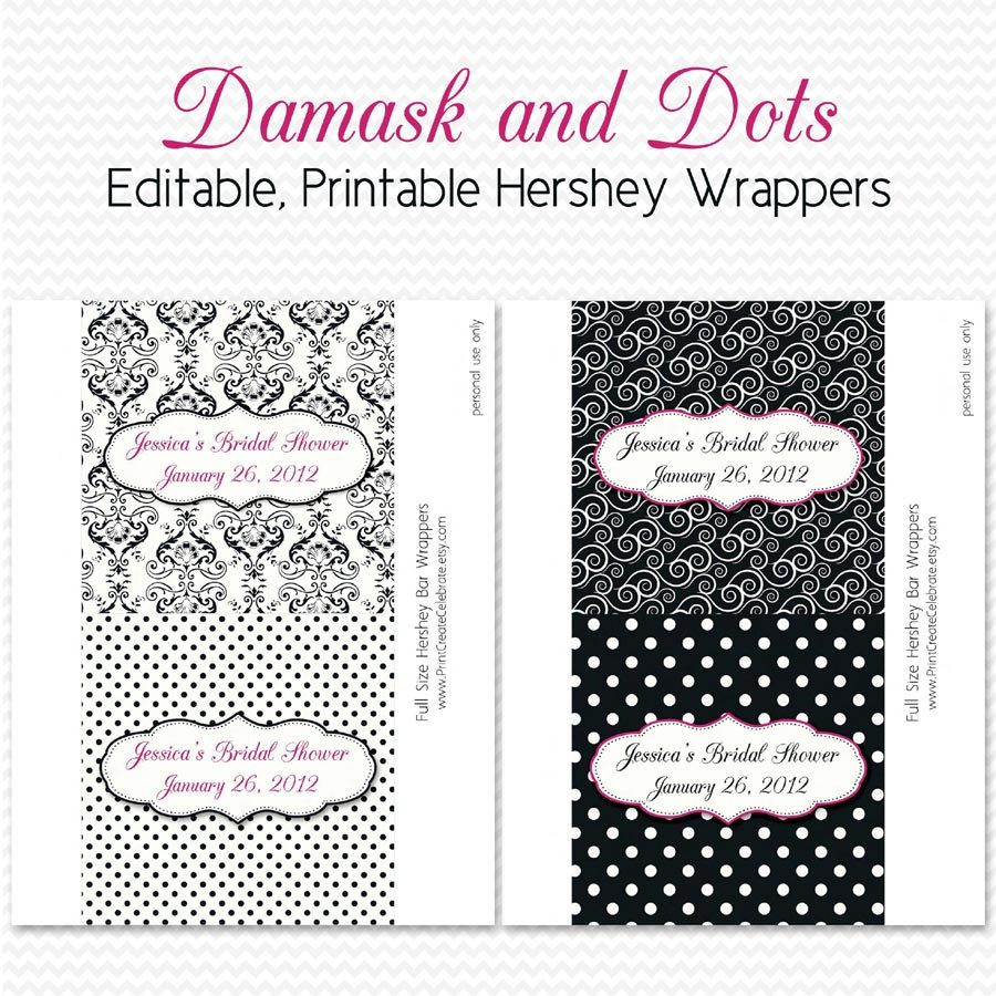 Damask Dot Candy Wrappers Bridal Shower Favors Black And White