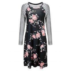 trendsgal.com - Trendsgal Striped Long Sleeve Floral Shift Dress - AdoreWe.com