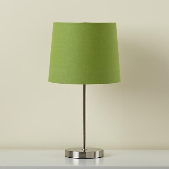 The Land Of Nod Kids Lighting Nickel Table Lamp Base With Green