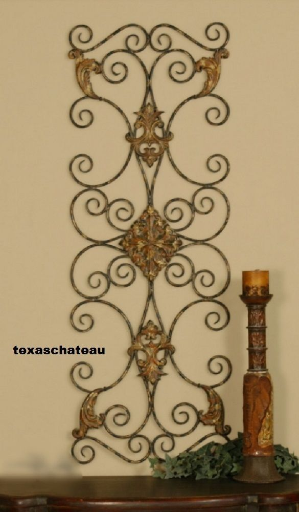 Large tuscan decor scroll wrought iron metal wall grille grill ...