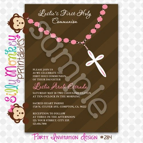 First Communion party invitation or thank you card DIY-284