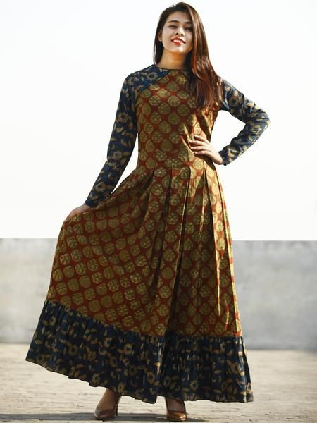 a7a7473f1777 Maroon Rust Indigo Beige Hand Block Printed Long Cotton Dress With Box –  InduBindu