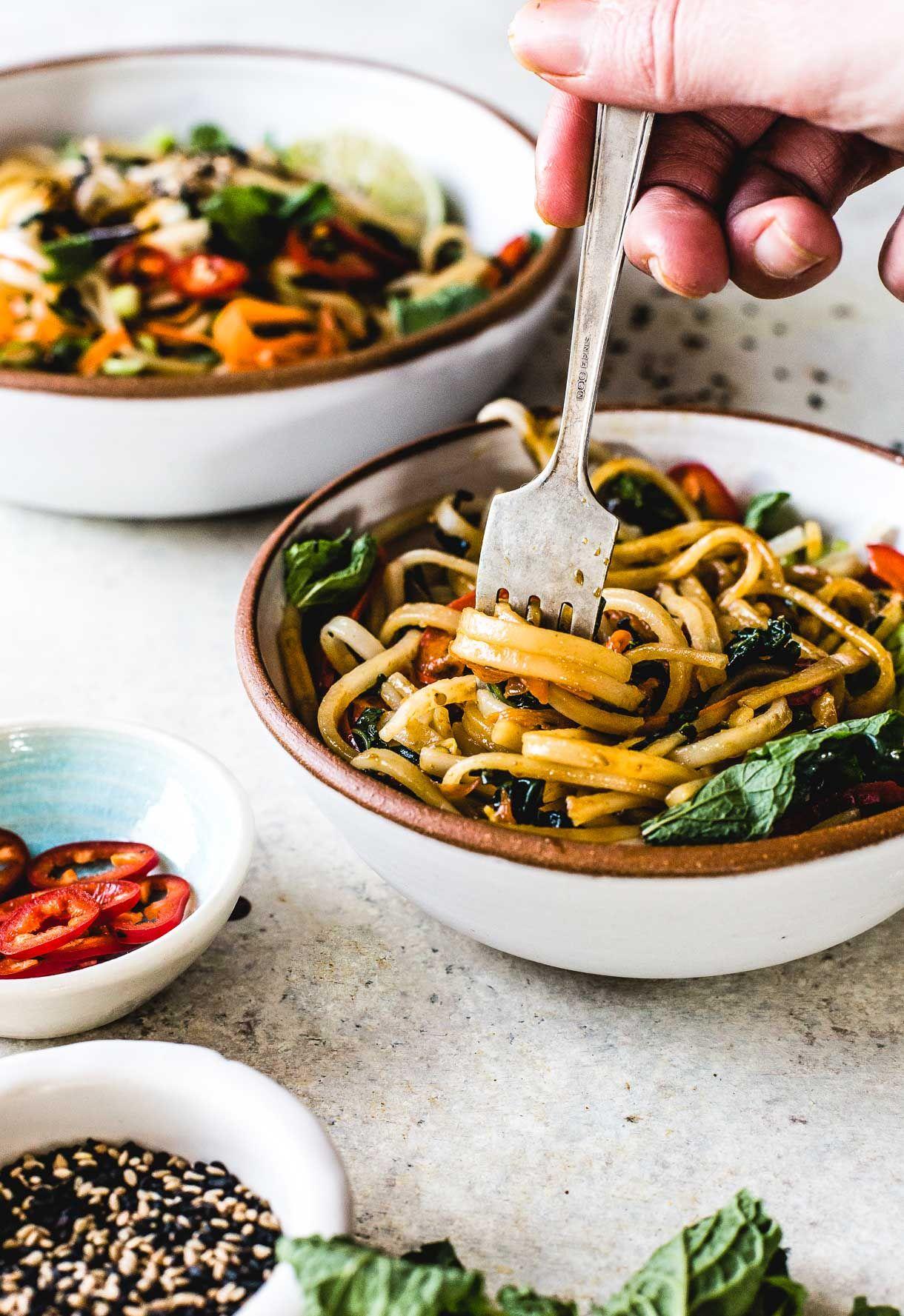 Sesame Thai Rice Noodles With Vegetables Vegan Recipe Recipe Rice Noodles Winter Vegetarian Recipes Autumn Recipes Vegetarian
