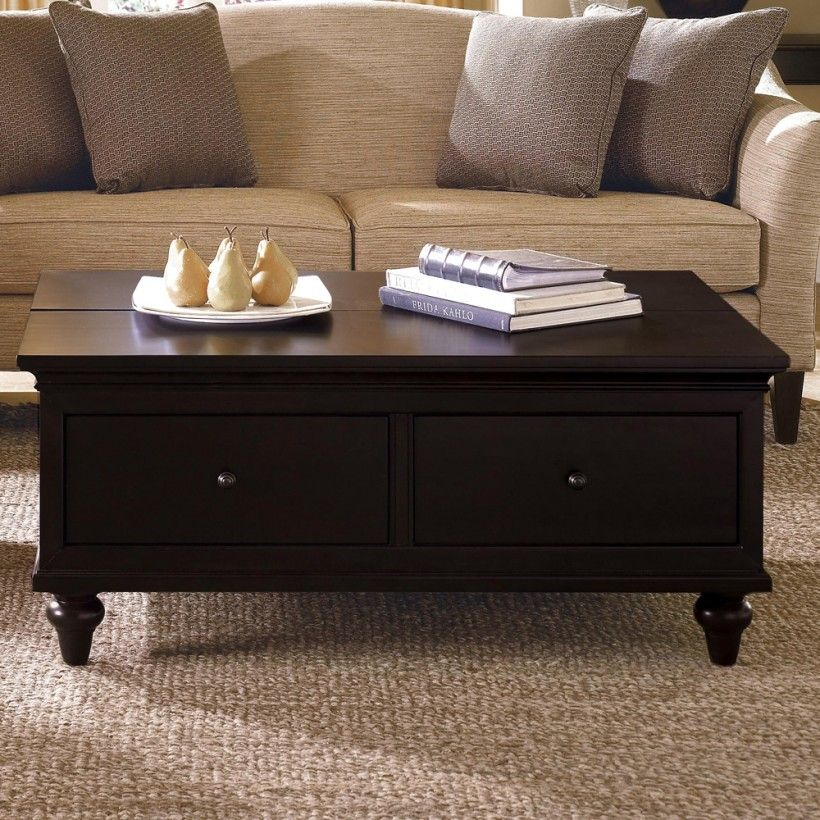 Furniture Rectangle Wood Folding Table Living Room With Storage - Small dark oak coffee table