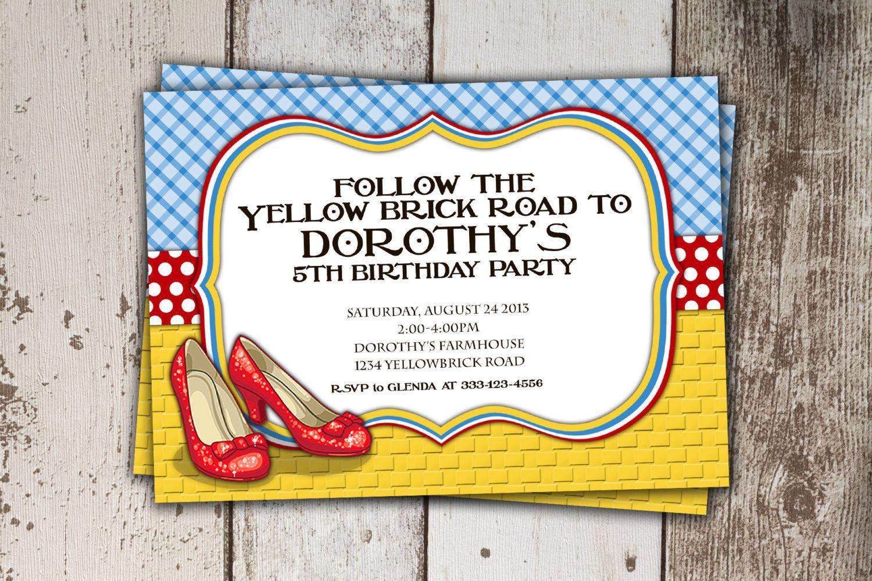 Wizard of oz birthday invitation follow the yellow brick road wizard of oz birthday invitation follow the yellow brick road birthday party print yourself filmwisefo Choice Image