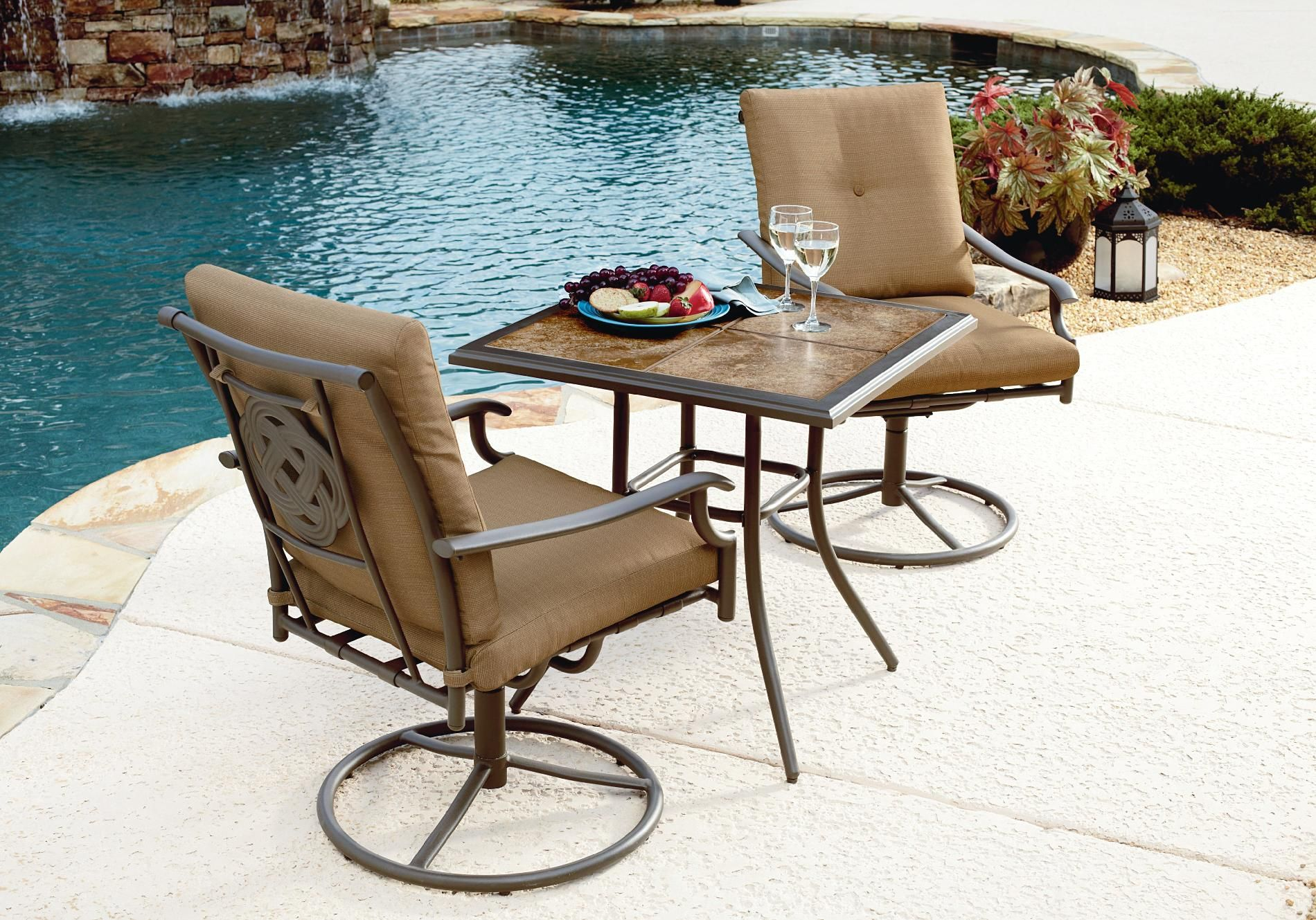 white chairs sets outdoor furniture for small spaces | Garden Oasis Emery 3pc Bistro Set - Outdoor Living - Patio ...