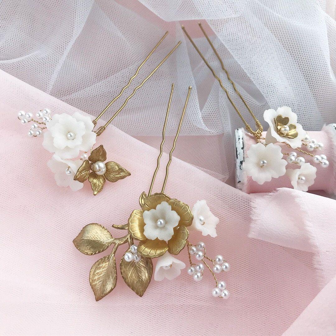 Small White Flower Hair Pins Wedding Hair Piece Gold Bridal Hair