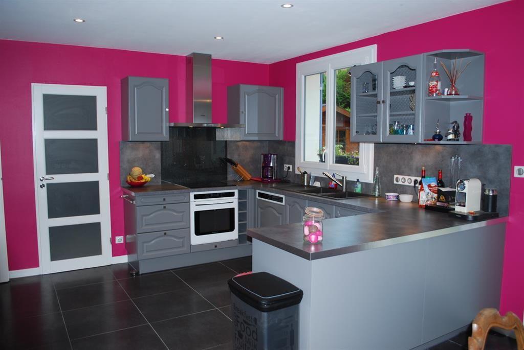 Gut bekannt Cuisine avec murs roses et meubles gris | decoration | Pinterest  RI43