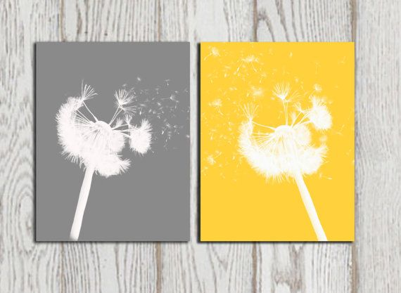 Grey And Yellow Wall Art dandelion poster print yellow grey home decor dandelion silhouette