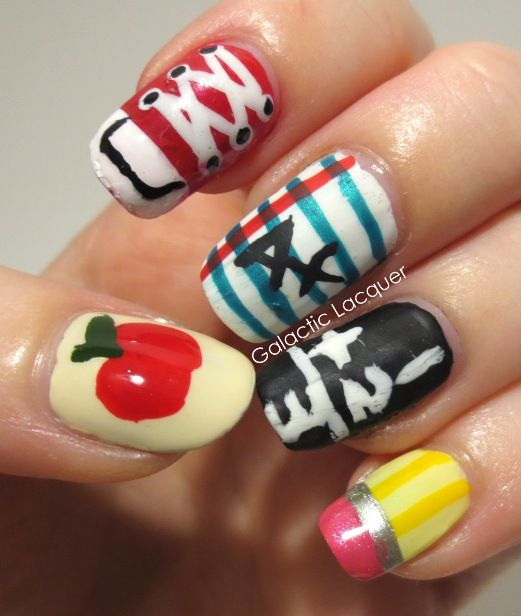 a great back to school nail design because I has almost ever thing you  should have at school and what you learn! may look challenging but try and  go for it - 10 Cute Back To School Nail Designs Nails Pinterest School