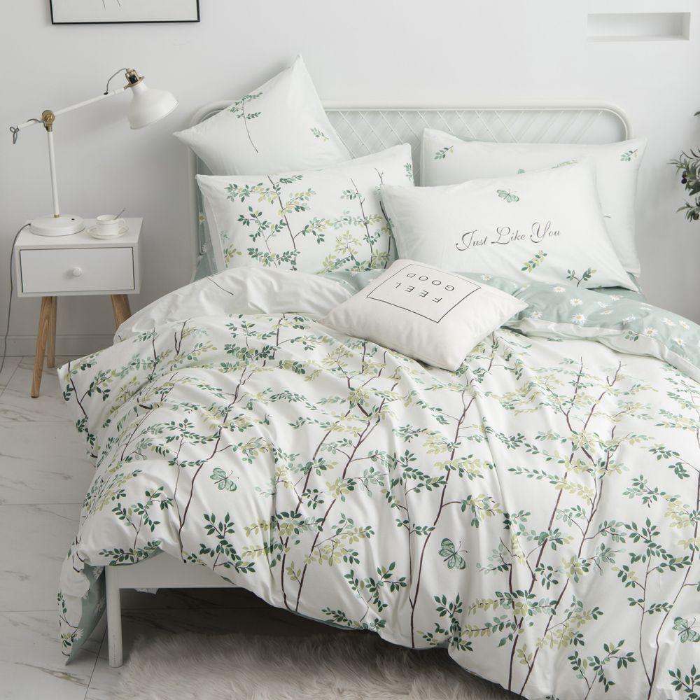 Farmhouse Floral Duvet Cover Set Queen Cotton 3pc Bedding