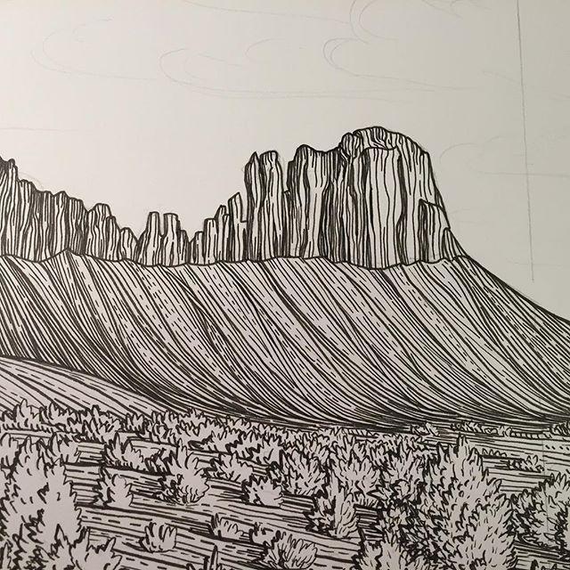 Indian Creek in progress #art #drawing #illustration #pendrawing #climbing #indiancreek