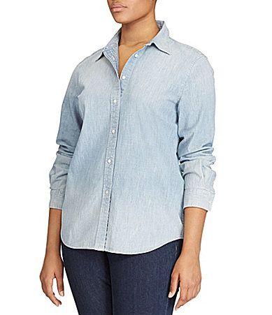 24b23d24595 Lauren Ralph Lauren Plus Chambray Shirt  Dillards- 109.50