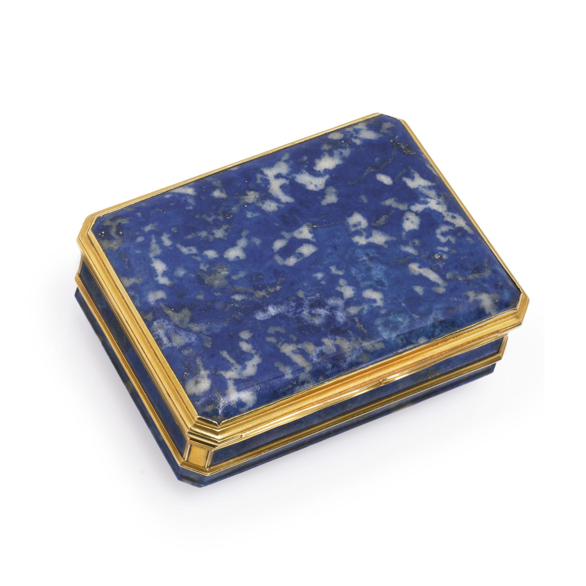 A Louis XV gold-mounted lapis lazuli snuff box, maker's mark L?, Paris, 1733   3-1/2 inches