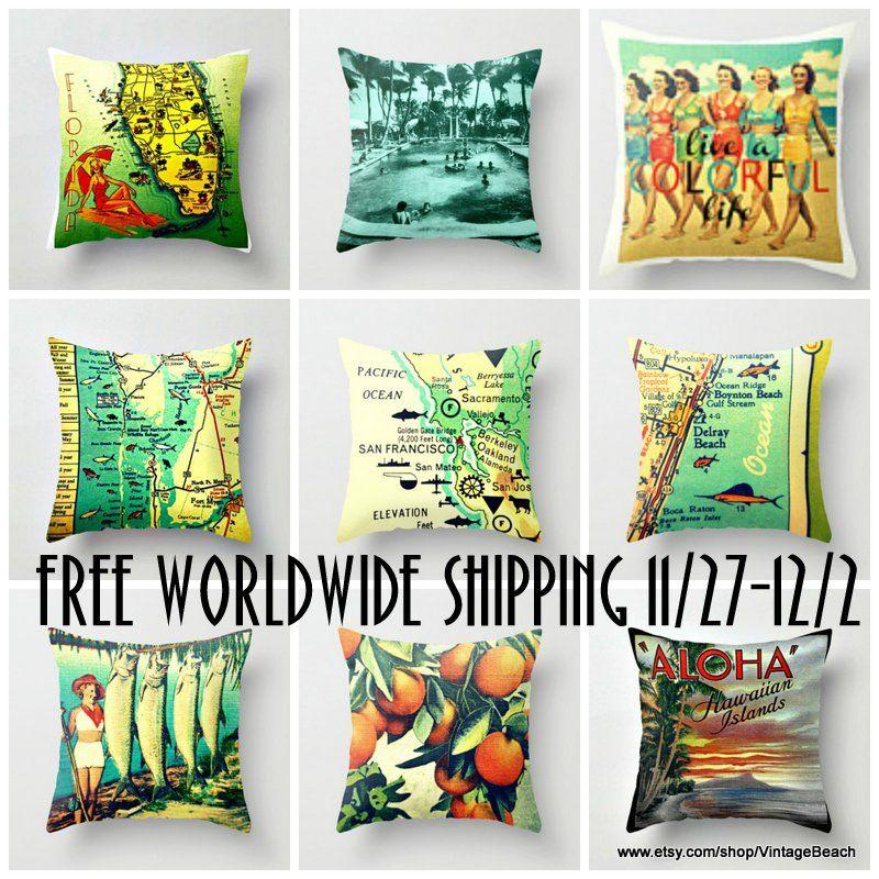 Beach Decor Pillows Map Custom Free Shipping Worldwide 11 27