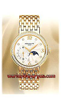 cfa841357230 4958 1J - This Patek Philippe Complicated Ladies Moon Phase Diamond watch  features a 31mm yellow gold case