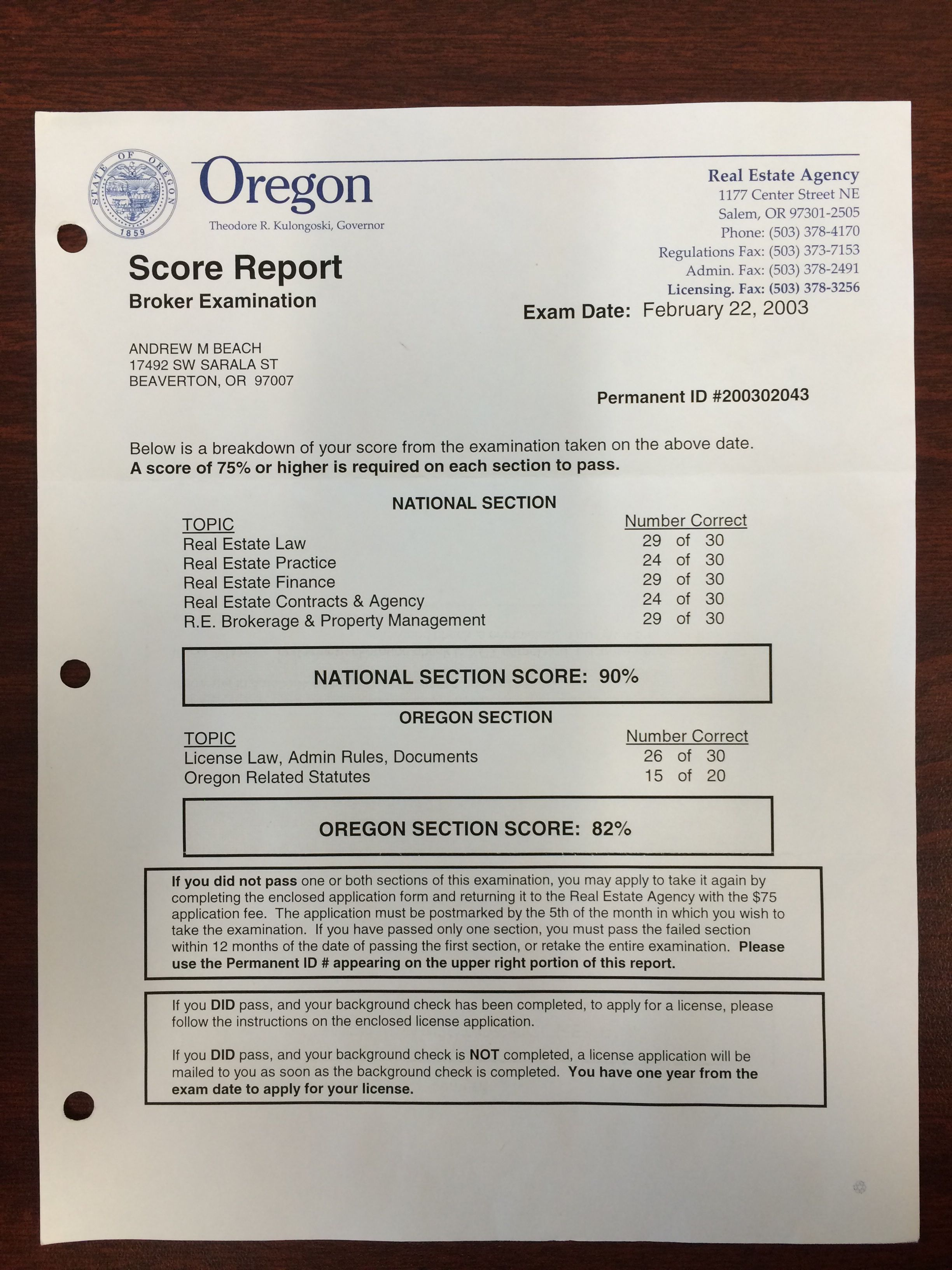 2003 Real Estate License Exam Passed Oregon Principal Broker Now