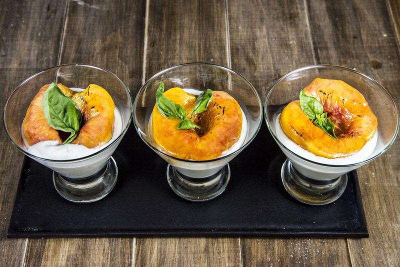 Caramelized Peaches with Basil and Honey Chobani