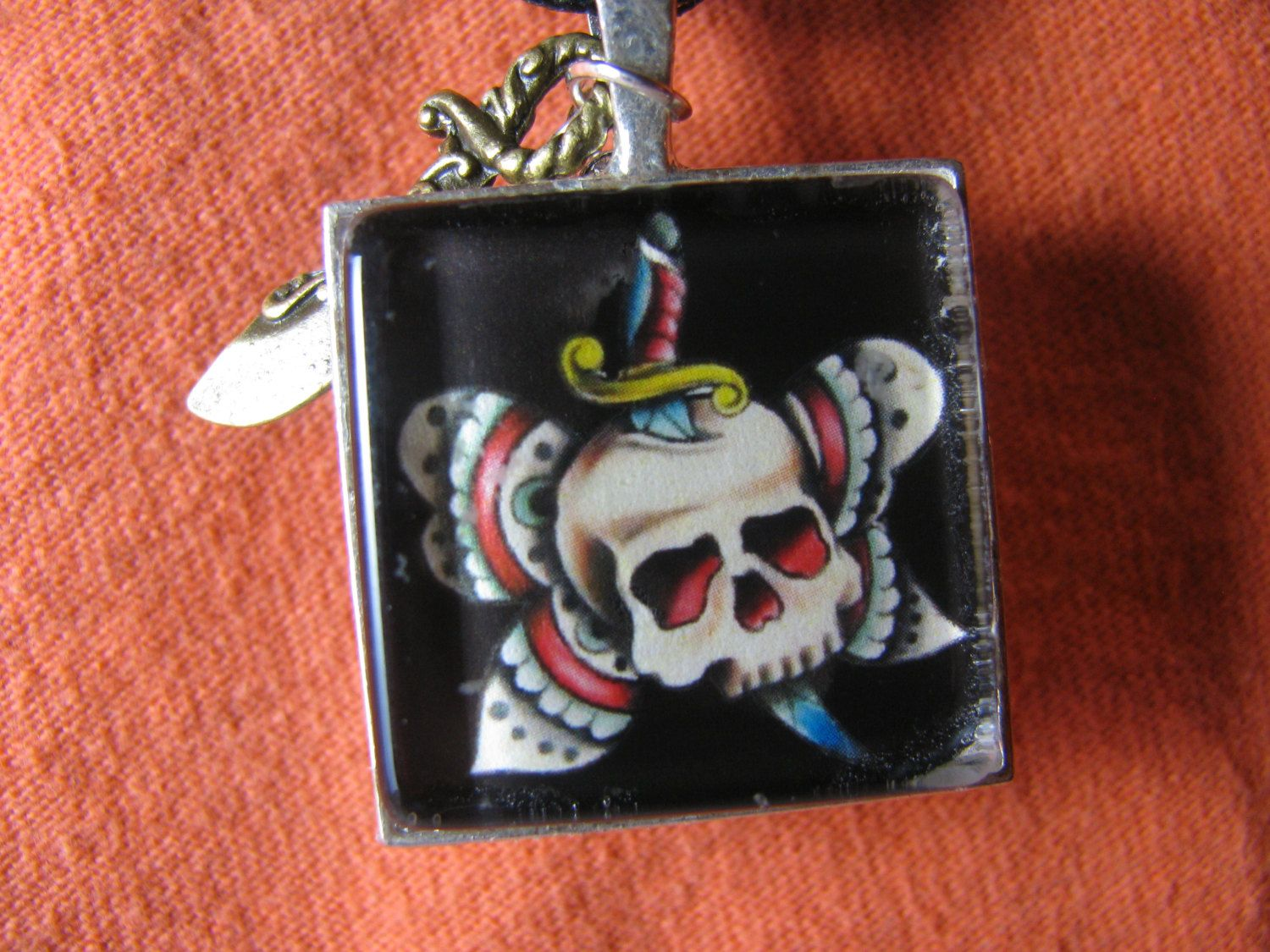 Old School Style Tattoo Image pendant necklace