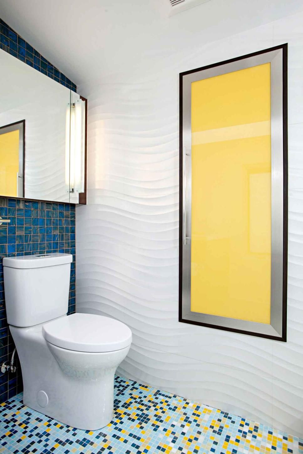Colorful Contemporary Bathroom With Textured Wavy Walls Small Blue And Yellow Tile Floor And Yellow Accent Yellow Bathrooms Yellow Bathroom Tiles Yellow Tile