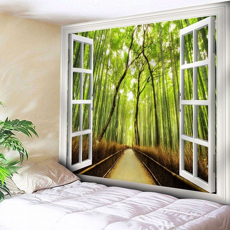 Window Bamboo Forest Path Bedroom Tapestry -