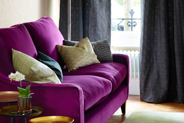 Purple Sofa Living Room Furniture Designs Decorating Ideas Houseandgarden Co Uk