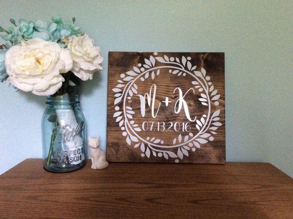 established date wedding sign monogram wedding sign custom wedding gift name date sign