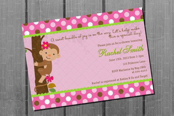 Baby Shower Girl Monkey Invitations ~ Pink monkey girl baby shower invitation by cuddlebuginvitations