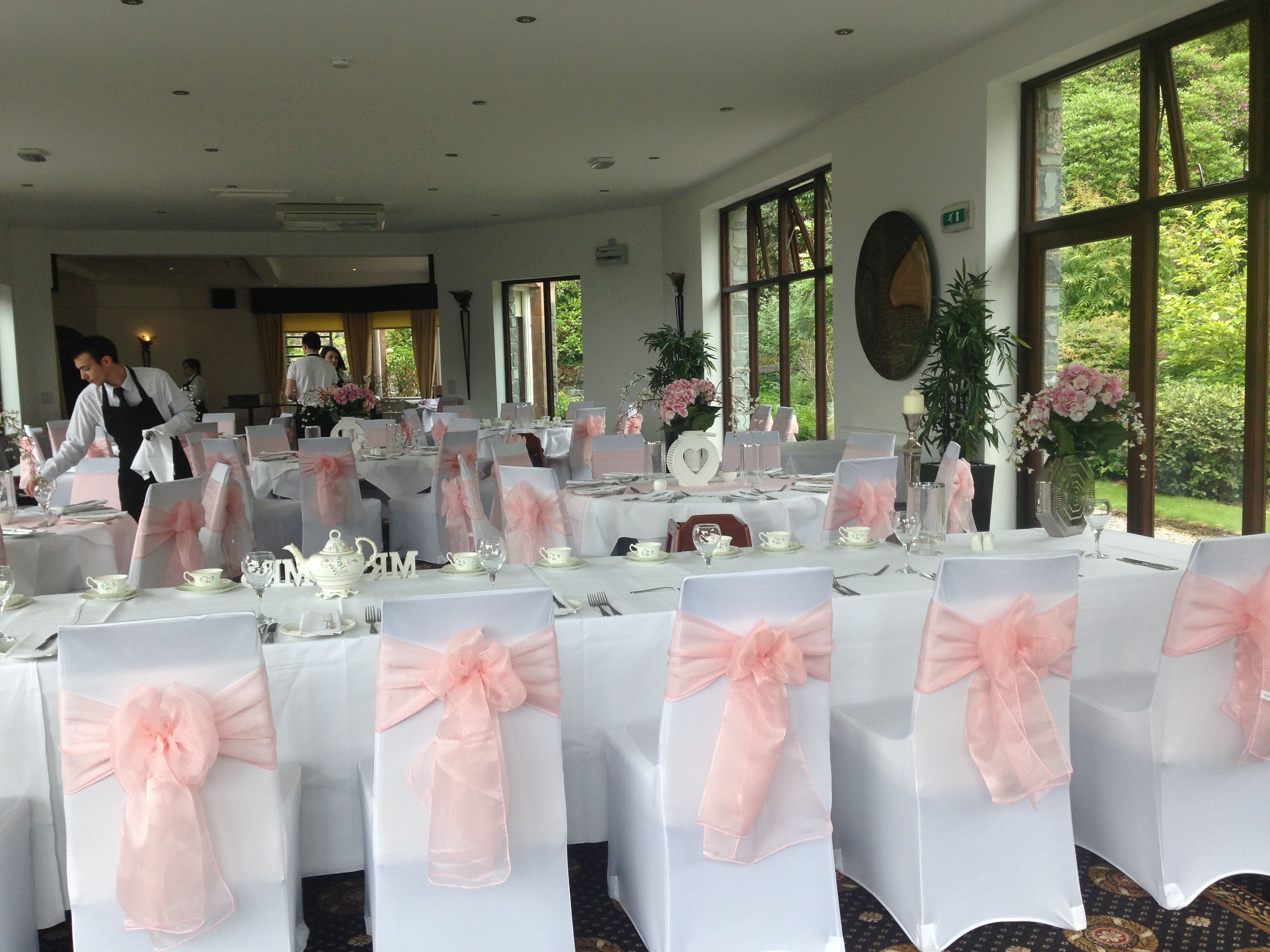 White Chair Covers Pale Baby Pink Sashes Bron Eifion Country