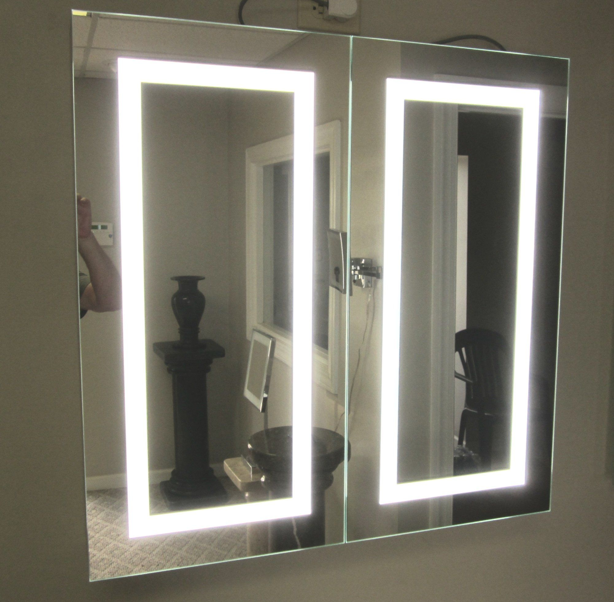 Lighted Twin Door Led Bathroom Mirror Medicine Cabinet 32 Wide X 32 Tall Surface Mounted Hinged On Left And Right 6 000 Kelvin Medicine Cabinet Mirror Lighted Medicine Cabinet Bathroom Mirror Cabinet