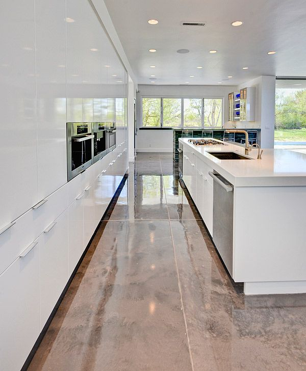 Metallic Epoxies Glitter On The Floor At A Contemporary Show House Concrete Decor Dinning Room Flooring Home Contemporary Kitchen
